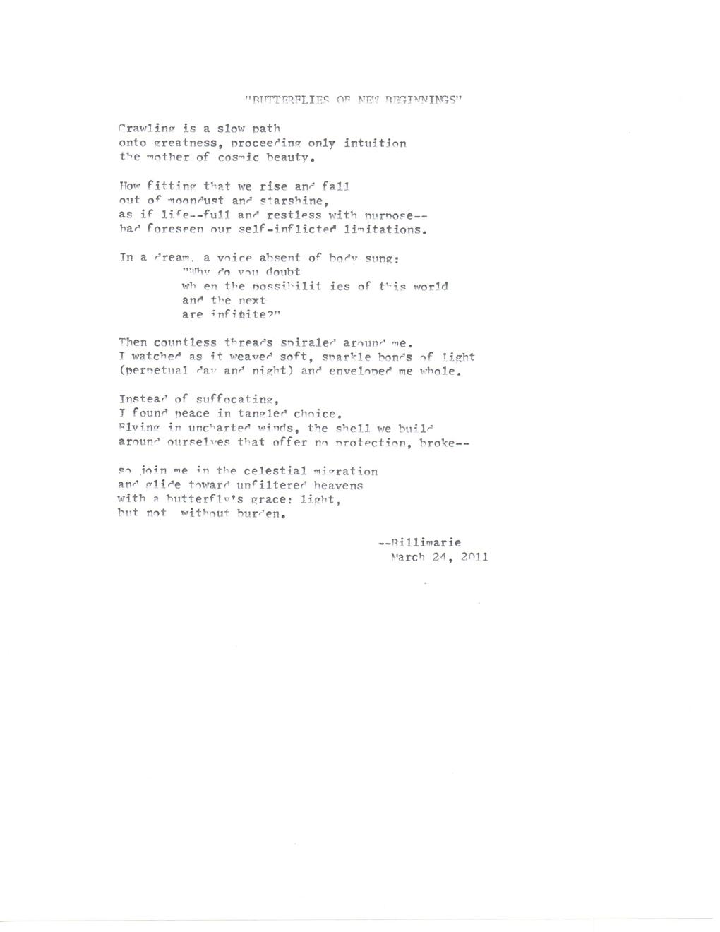 New Beginnings Poems 1