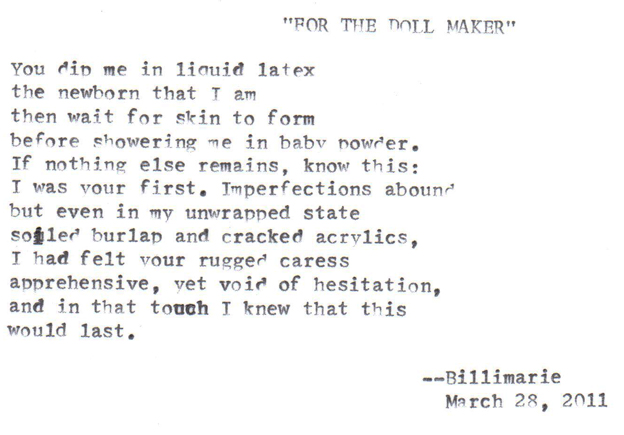 For The Doll Maker Typewriter Poetry