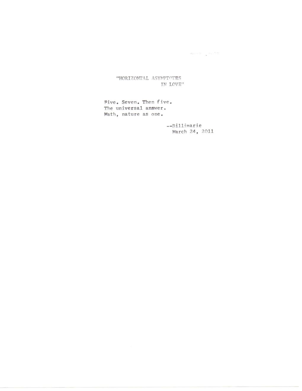 """HORIZONTAL ASYMPTOTES IN LOVE"" | typewriter poetry"