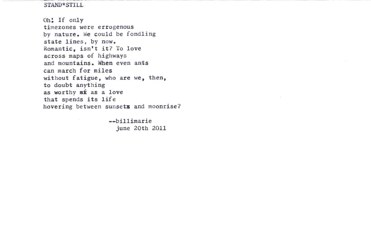 On Leaving  Billimarie  Typewriter Poetry    Short